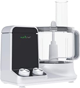 NutriChef NCFP8 Multifunction Food Processor - Ultra Quiet Powerful Motor, Includes 6 Attachment Blades, Up to 2L Capacity, One size, White
