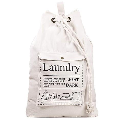 Ihomagic Bolsas de Lavandería Lavado Lona de algodón Bolsa para la colada Algodón Natural Almacenamiento en el hogar Organización Cesta para la ...