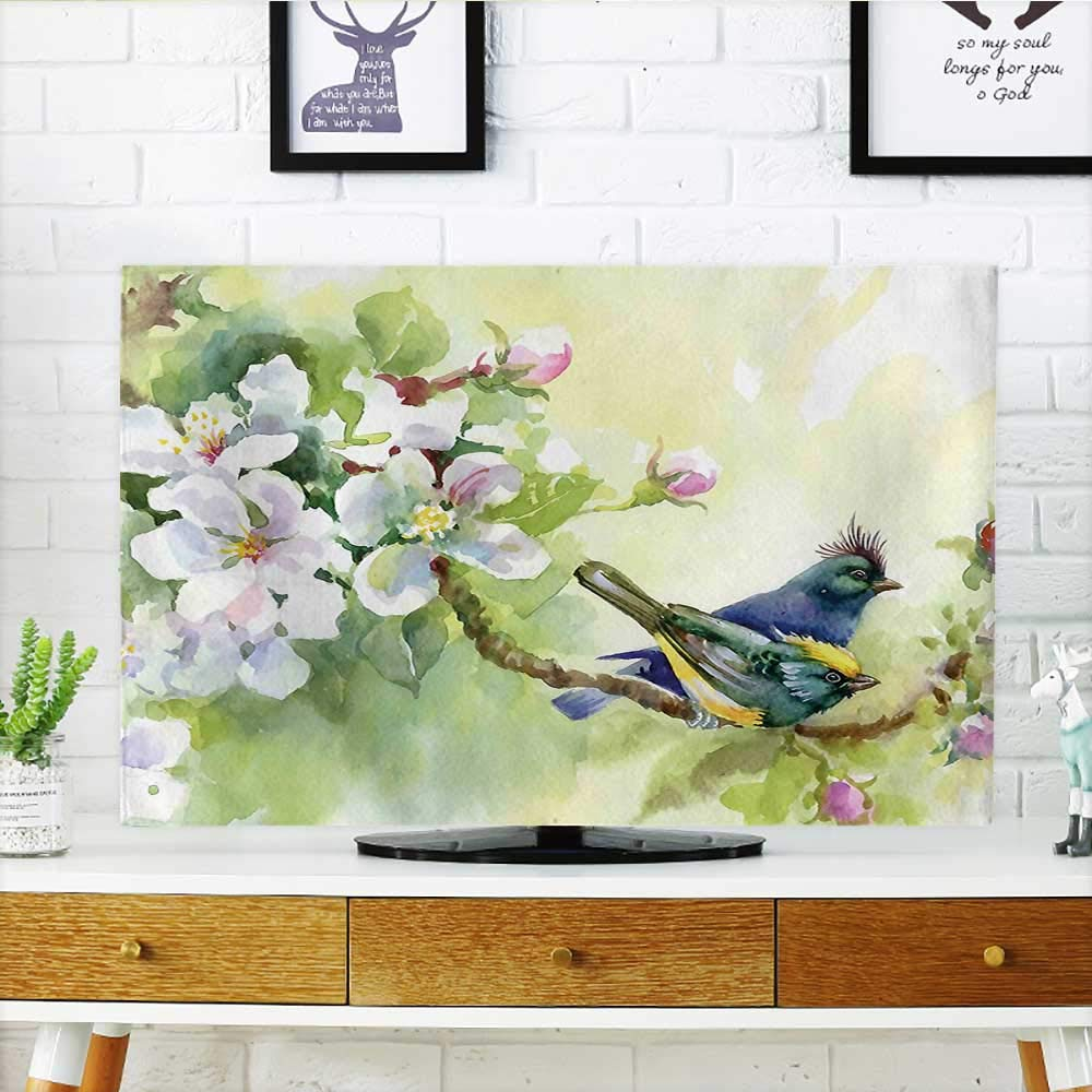Auraisehome Protect Your TV Style Effect Birds of Spring on Tree Branch Illustration Yellow and Reseda Green Protect Your TV W36 x H60 INCH/TV 65''