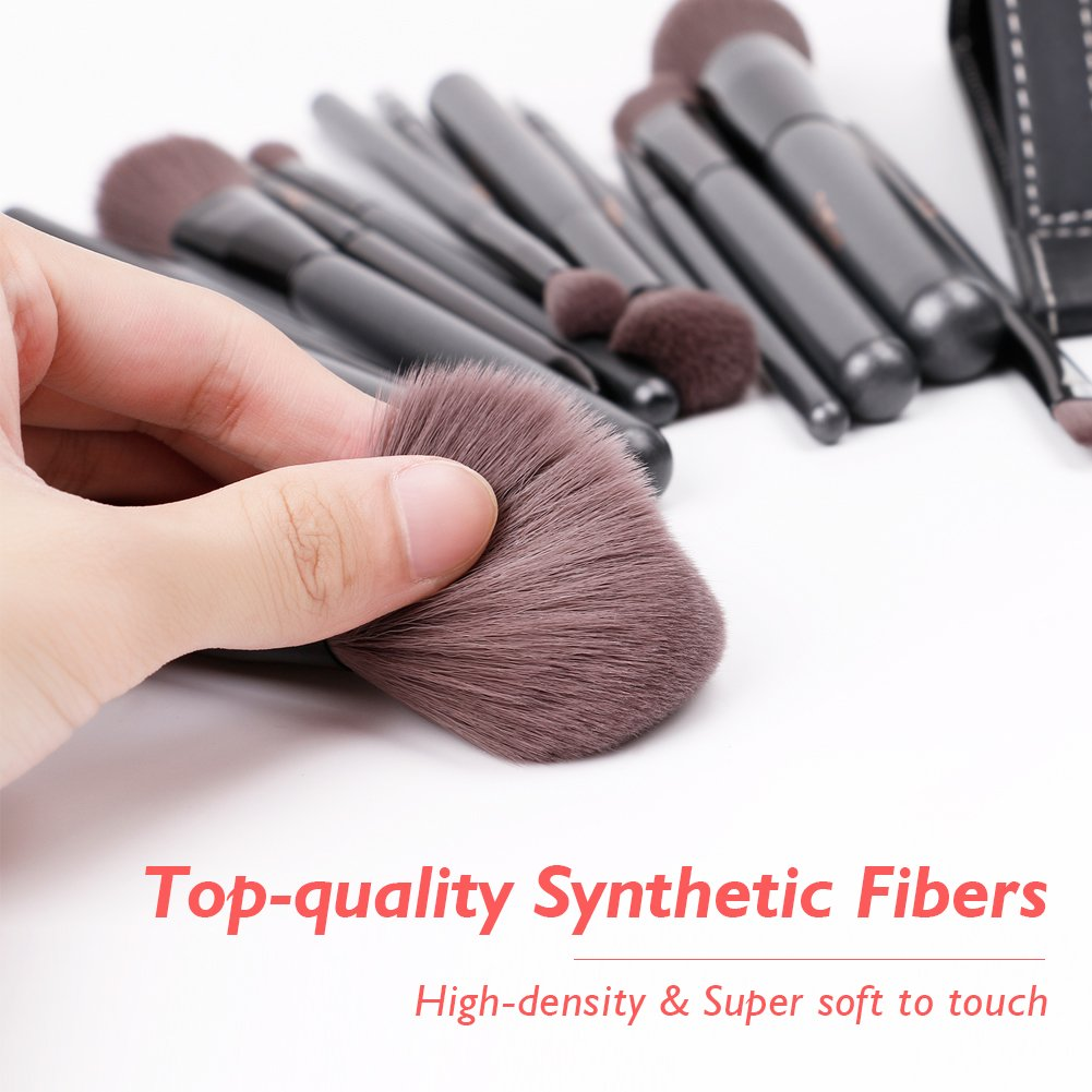 DUcare15 Pcs Pro Makeup Brush Set with Case and Travel Mirror Gift Choice Synthetic Professional Foundation Blending Brush Face Powder Blush Concealer Make Up Brushes by DUcare (Image #3)