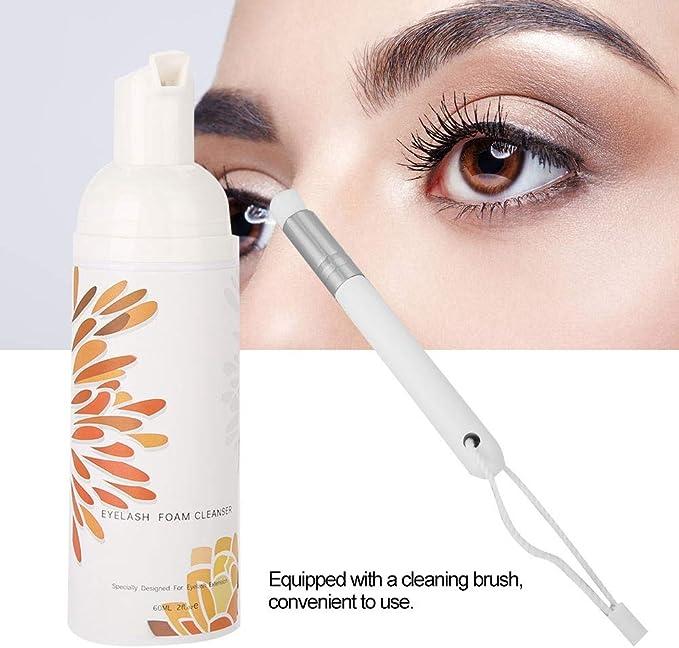 60 ml Profesional pestañas Espuma Cleanser Cepillo de limpieza Set – Rizador de garantía Limpieza Espuma, Eyelash foaming Cleanser Eyelash Extension ...