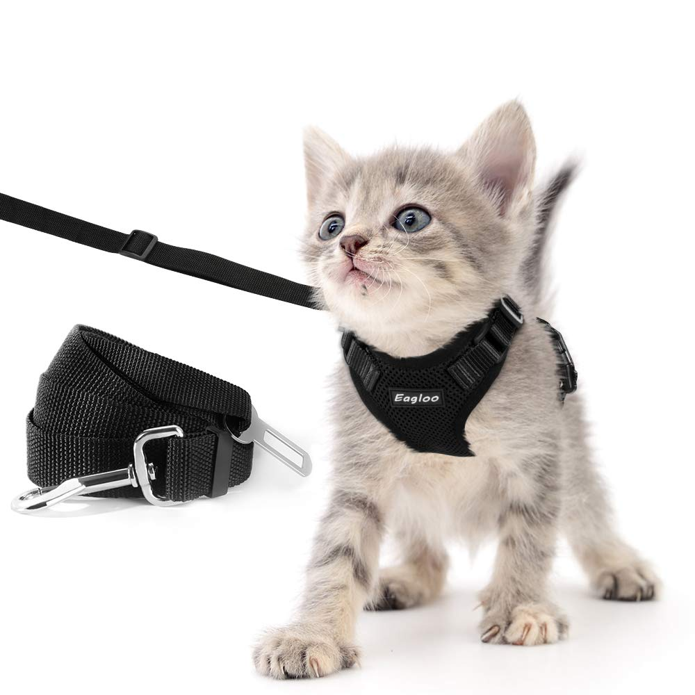 Eagloo Cat Harness and Leash Set for Walking Escape Proof with 2-in-1 Leash and Car Seat Belt Adjustable Harness for Cats Soft Mesh Cat Vest with Reflective Strap for Kitten Rabbit Puppy Black X-Small by Eagloo