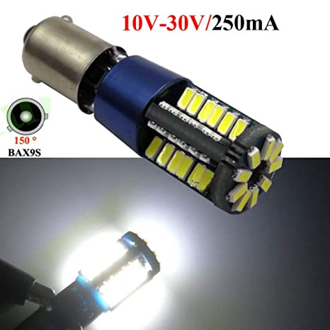 Ruiandsion Canbus BAX9S Bombillas LED DC 10-30V Blanco 4014 57SMD Luces de matrícula LED