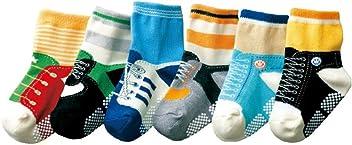 Kinder Jungen 6 kn/öchelhohe Antirutsch-Socken mit Schn/ürsenkel-Motiv/f/ür Babys