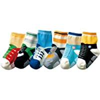 Baby Boys Kids 6-Pack Shoelace Anti-slip Ankle Socks - One Size (Suitable for 1 to 2 years old)