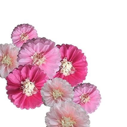 Amazon fonder mols 9pcs pink paper flowers tissue paper fonder mols 9pcs pink paper flowers tissue paper chrysanth flowers princess wedding backdrop nursery decor baby mightylinksfo
