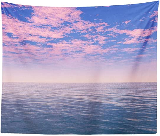 ONELZ Wall Hanging Tapestry, Beautiful Sea Clouds Sky Digital Artwork Calm Open Abstract Air Blue Bright Cloud Day Decor Collection Bedroom Living Room 60 L x 60 W Polyester