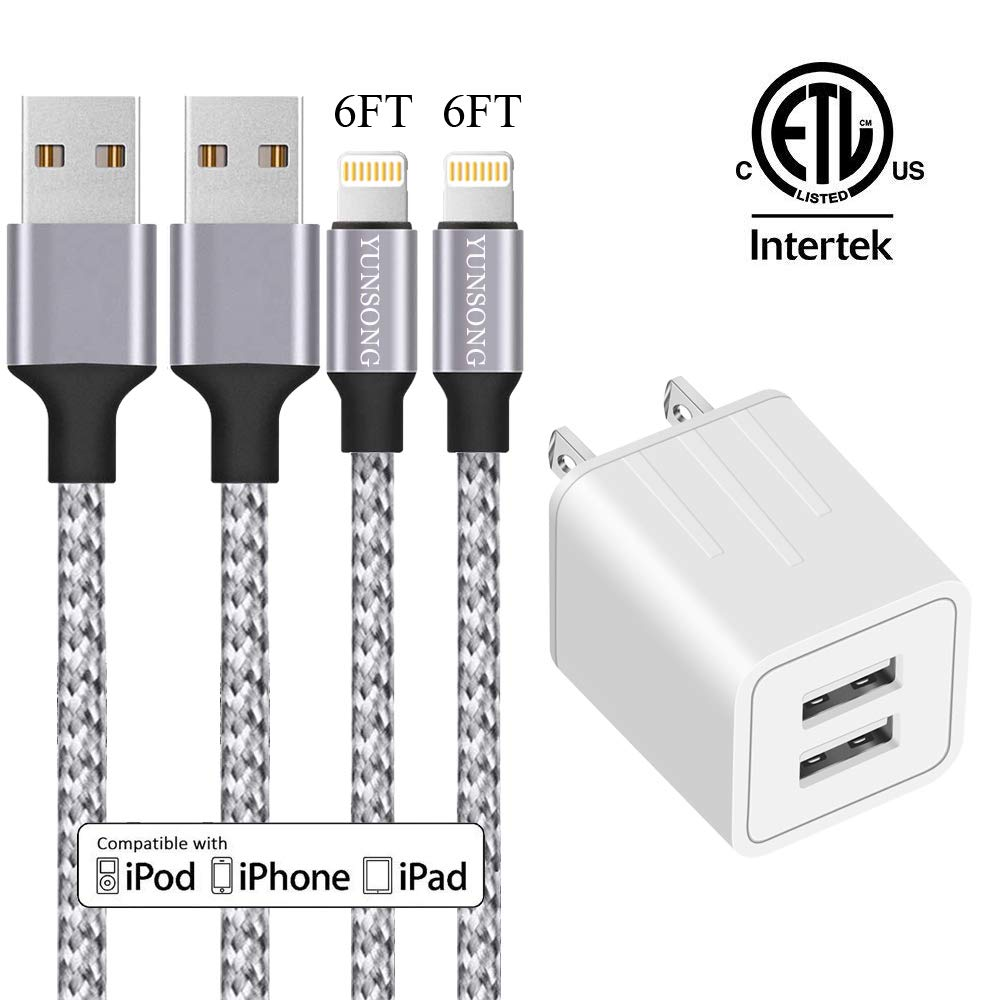 iPhone Charger, YUNSONG Nylon Braided Lightning Cable 2Pack 6ft Data Sync Transfer Cord 2-USB Rapid Charging Plug Wall Charger(ETL Listed) Compatible with iPhone Xs MAX XR X 8 7 6S 6 Plus 5S SE iPad by YUNSONG
