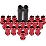 ECCPP Wheel Lug Nuts 20 Pieces + 2 Keys 12x1.5 Red Chrome Spline Bulge