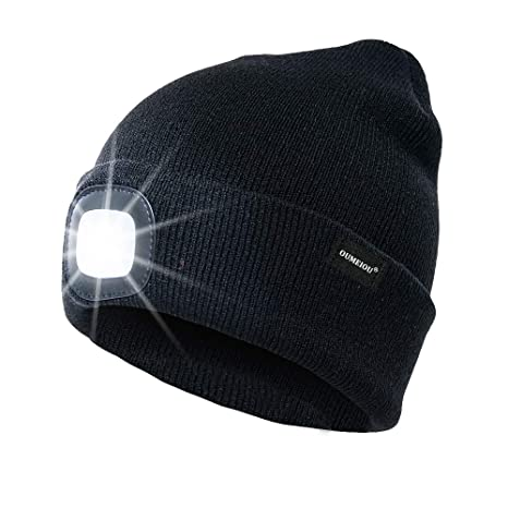 c9303ce1408 Oumeiou New Warm Bright LED Lighted Beanie Cap Unisex Rechargeable Headlamp  Hat Multi-color (