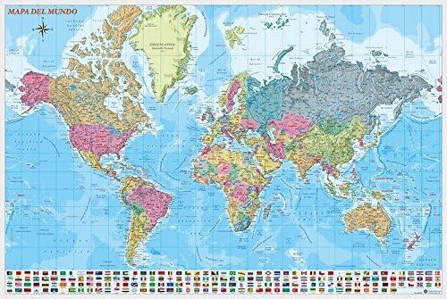 Grupo Erik Editores Poster Mapa Mundo Es Fisico Politico: Amazon.es: Oficina y papelería