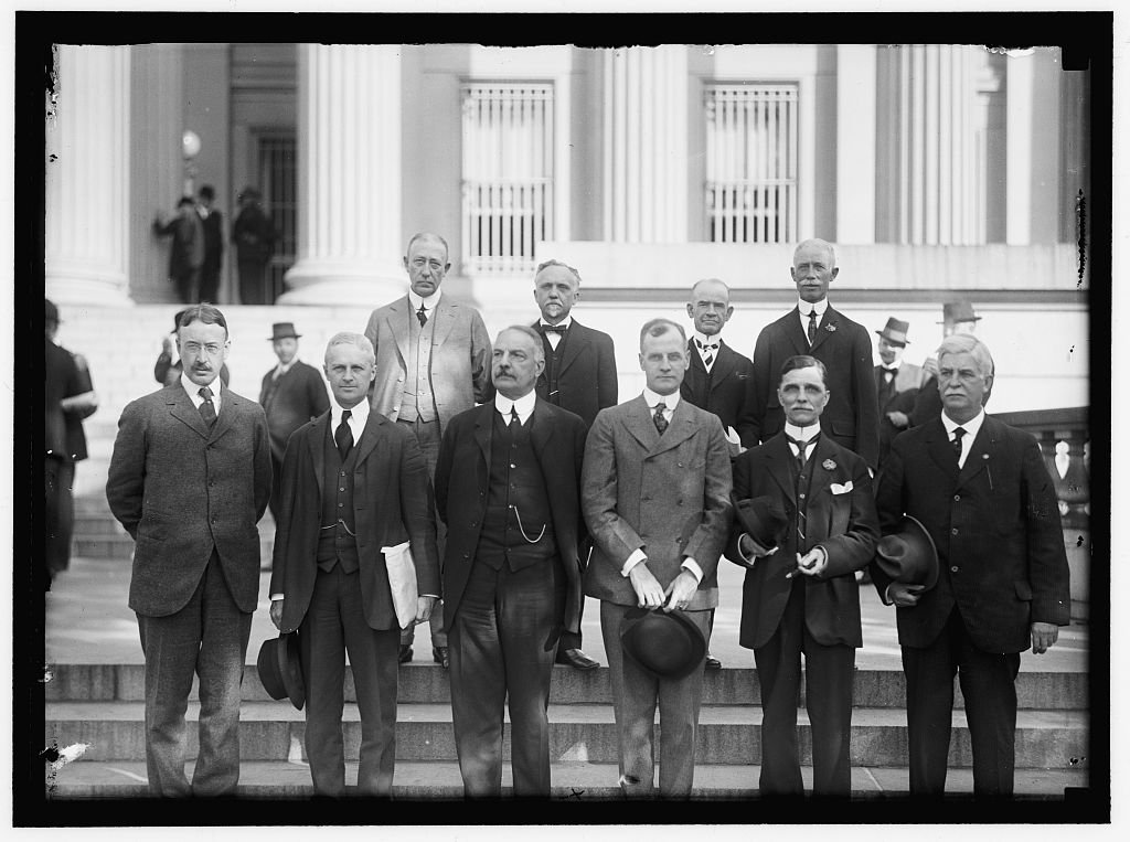 Reproduced 4 x 5 Photo of: Federal Reserve System. Chairmen Of Federal Reserve Districts. Front Row: Frederick H. Curtiss, Boston, Dist 1; Pierre Jay, New York City, Dist. 2; 1914 Harris & Ewing a53
