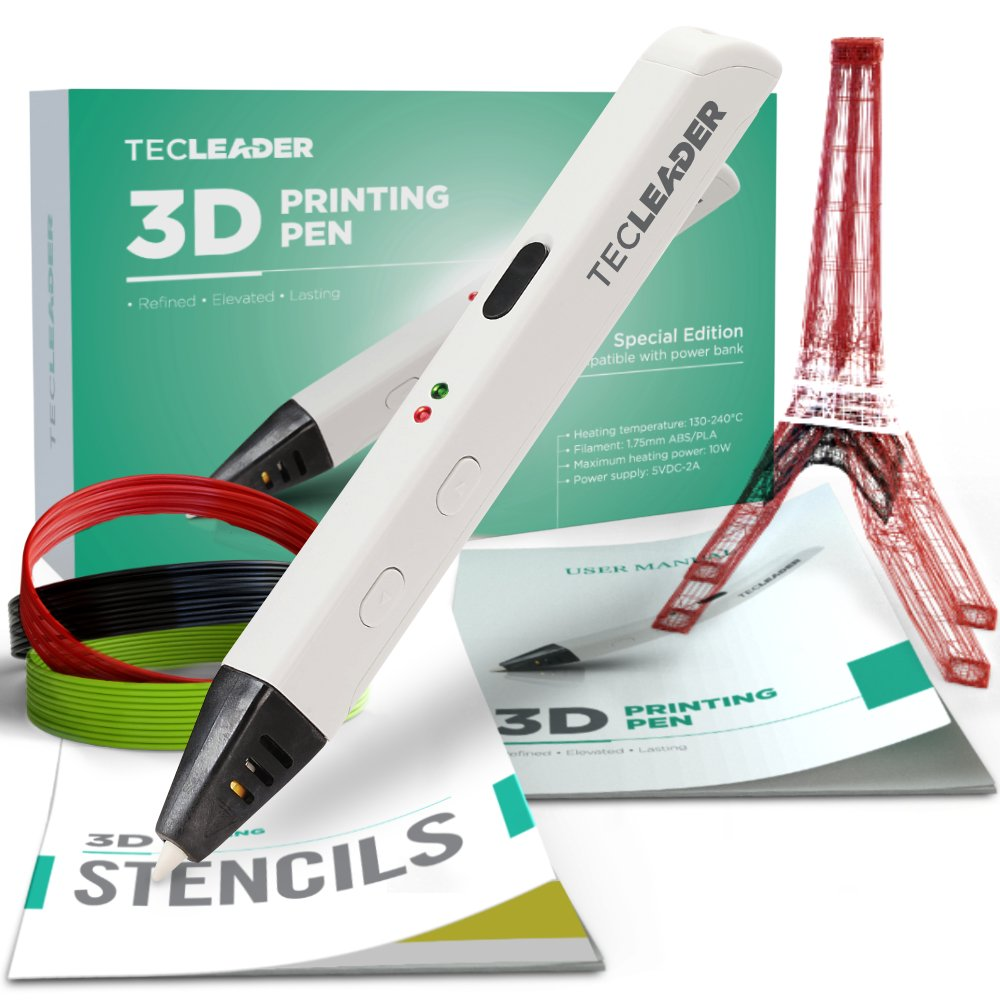 TECLEADER | 3D Printing Pen for Kids & Adults | Perfect Educational Toy for 3D Modeling, Printing and Doodling | Free Stencil EBook, 3 ABS Filaments & User Manual | Best Birthday Gift | Slim Design
