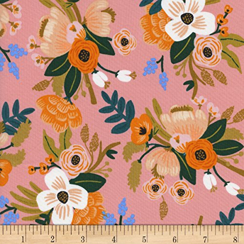 Cotton + Steel Rifle Paper Co Rayon Challis Amalfi Lively Floral Coral Fabric by The ()