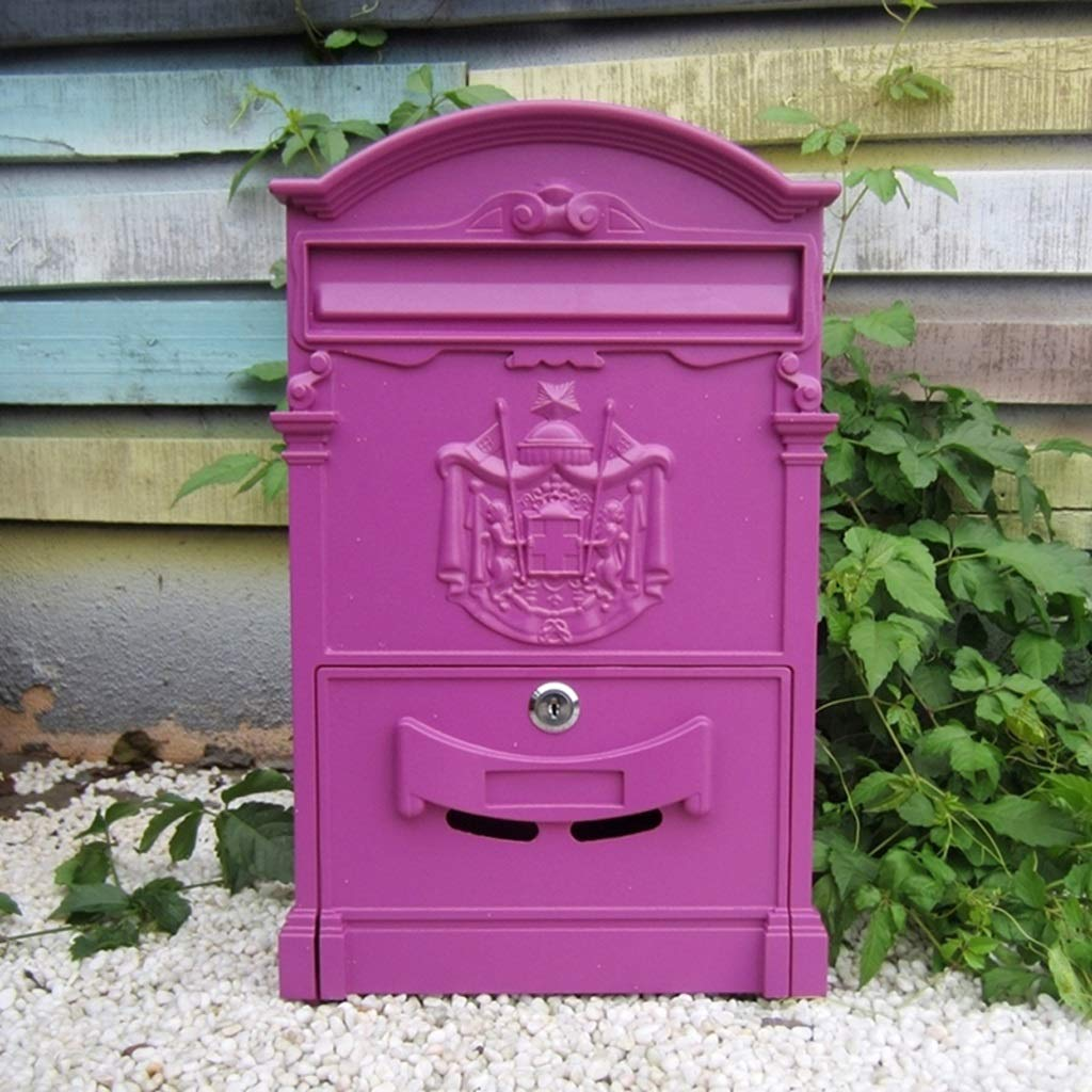 CJH Retro Aristocratic Logo Waterproof Mailbox European Villa Wall Hanging Mailbox Outdoor Creative Postbox with Lock Suggestion Box Purple Pink by CJH