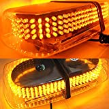 AMBOTHER Amber 240 LED Law Truck Car Enforcement Emergency Hazard Warning LED Mini Bar Snow Plow Safety Strobe Light with Magnetic Base 12V