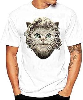 Conina Men Women Blouse Casual Personality Cotton Short Sleeve Animal Printing Shirt O-Neck Top T-Shirt