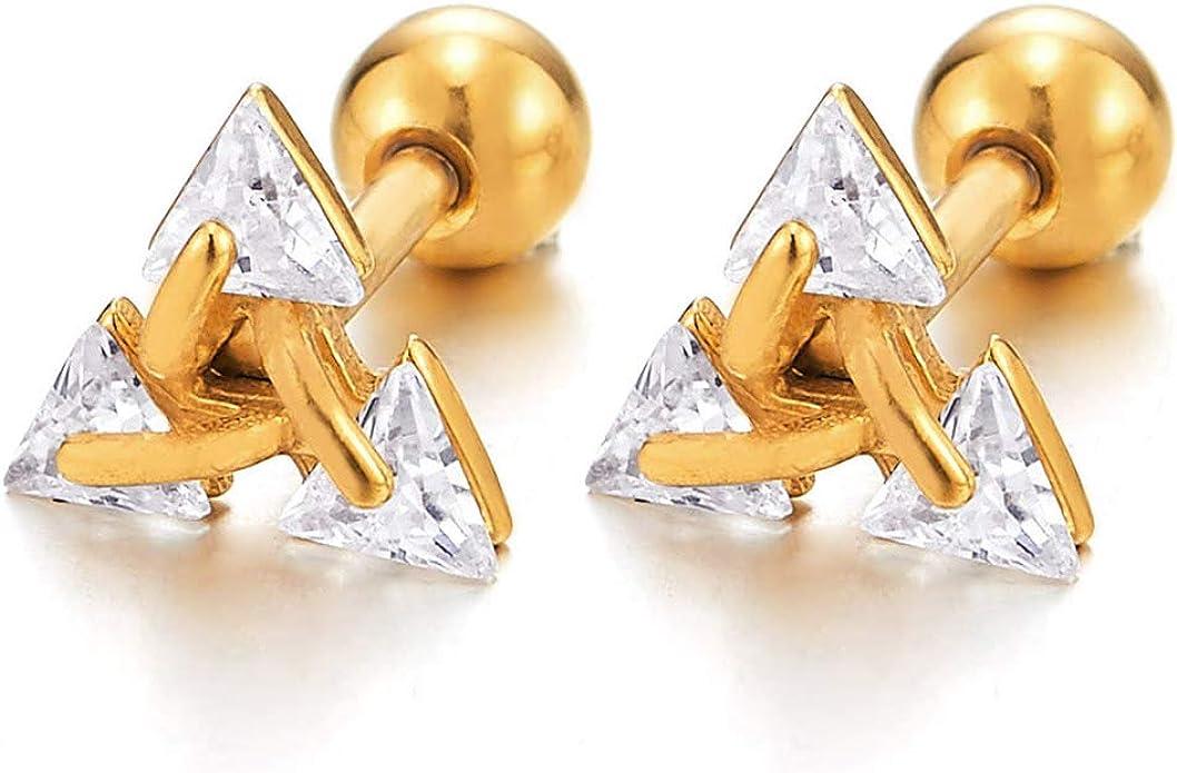 2 Pi/èces Clous doreille Acier Triangle Zircone Cubique Couleur Or Boucles doreilles Homme Femme Revisser