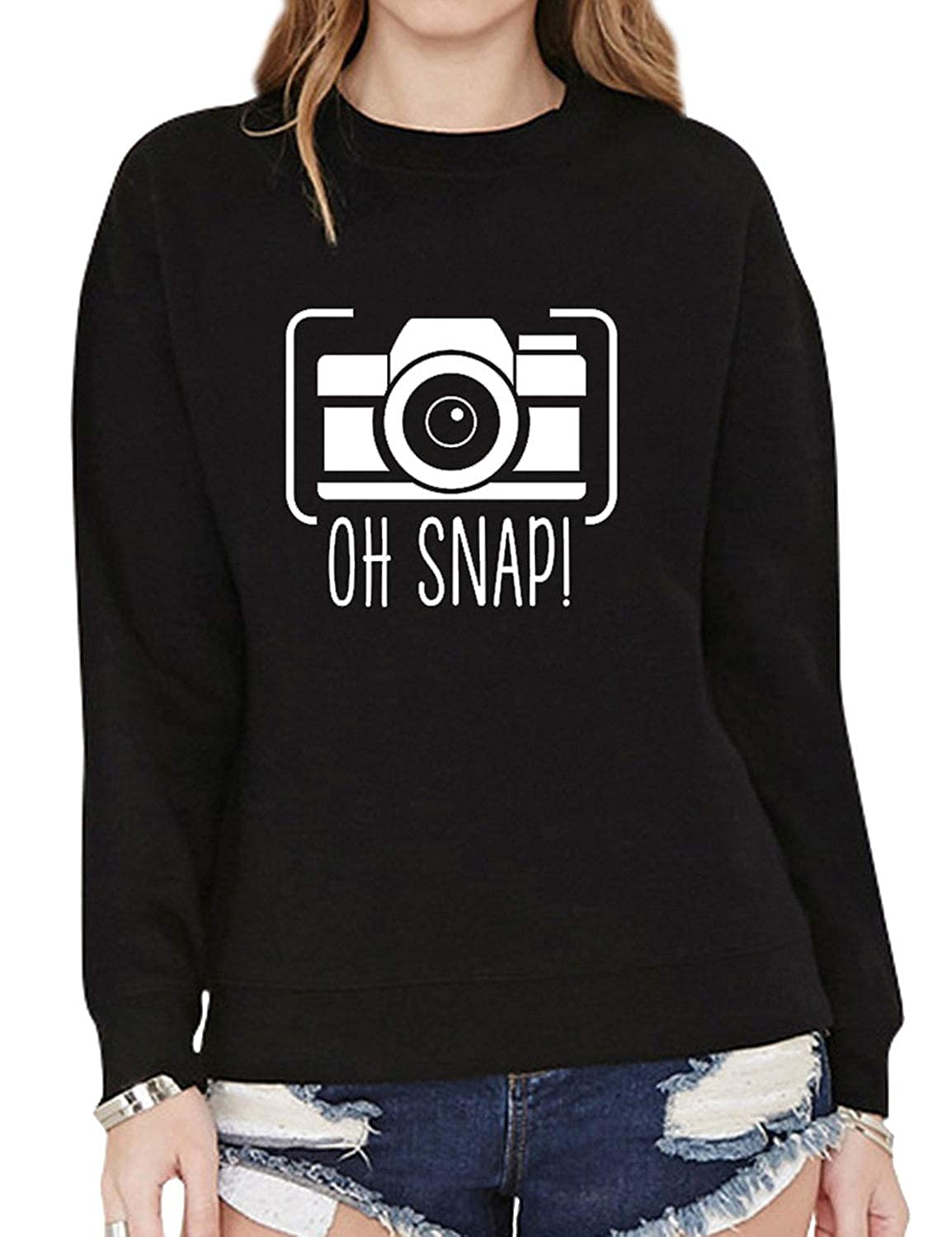 Black ZJP Women Round Neck Long Sleeve Camera Graphic OH SNAP  Letter Print Sweatshirt
