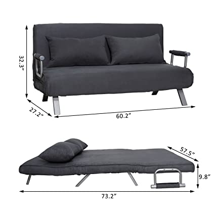 Super Amazon Com Gray Black Suede Folding Window Seat Convertible Uwap Interior Chair Design Uwaporg