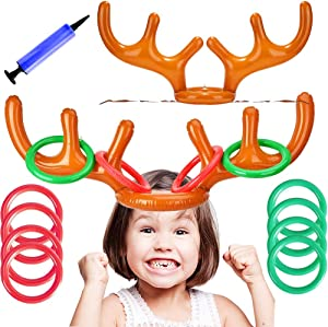 T-Antrix 2 Set Inflatable Reindeer Antler Game, 2 Reindeer Antler Hat with 12 Ring Toss and 1 Hand-held Pump Great Family Christmas Party Games