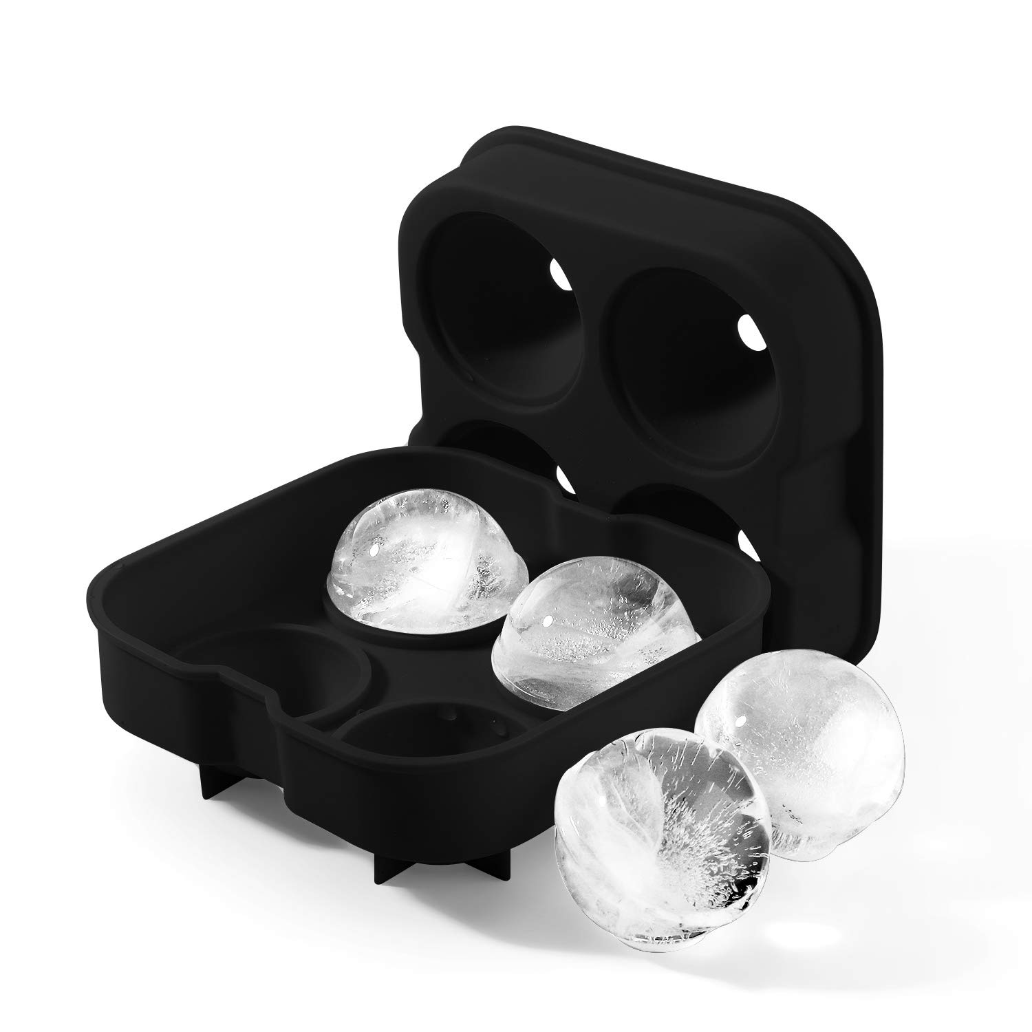 Flexible Silicone Mold with Lids for 1.8 Large Ice Sphere Mold for Whiskey Chilling Bourbon Cocktail Beverages Round Ice Spheres Ice Cube Tray Mold for Whiskey Flexzion Ice Ball Mold Maker