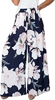 JULYKI Womens Wide Leg Lounge Pants, Front Tie Floral Print Flowy Stretchy Comfy Palazzo Pants
