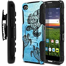 Alcatel Idol 5 6060C 5.2 Case, Fincibo (TM) Dual Layer Hybrid Armor Heavy Duty Hard Protector Cover Kickstand Stand Soft TPU Skin with Holster, Ocean Sea Turtle