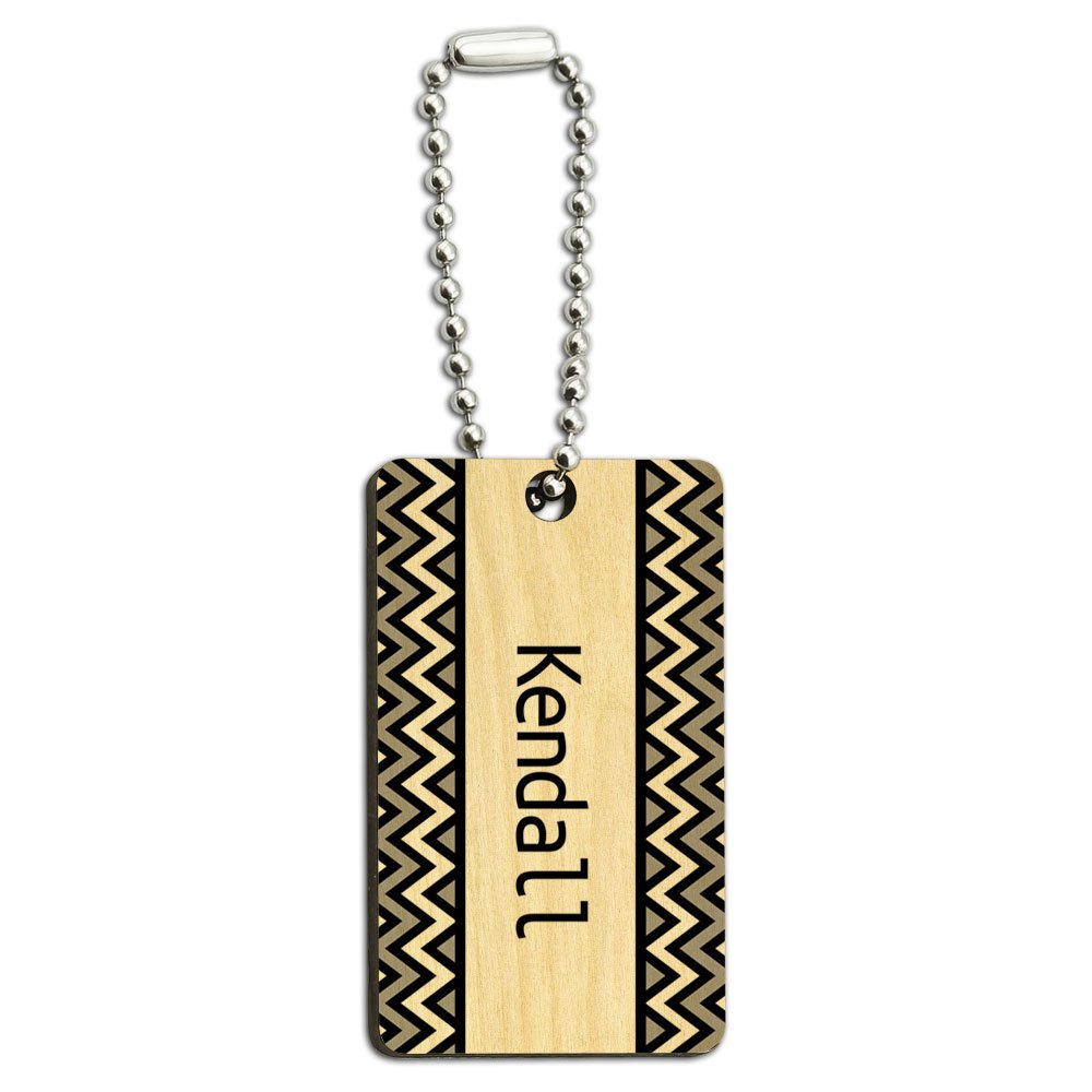 Kendall Black and Grey Chevrons Wood Wooden Rectangle Key Chain
