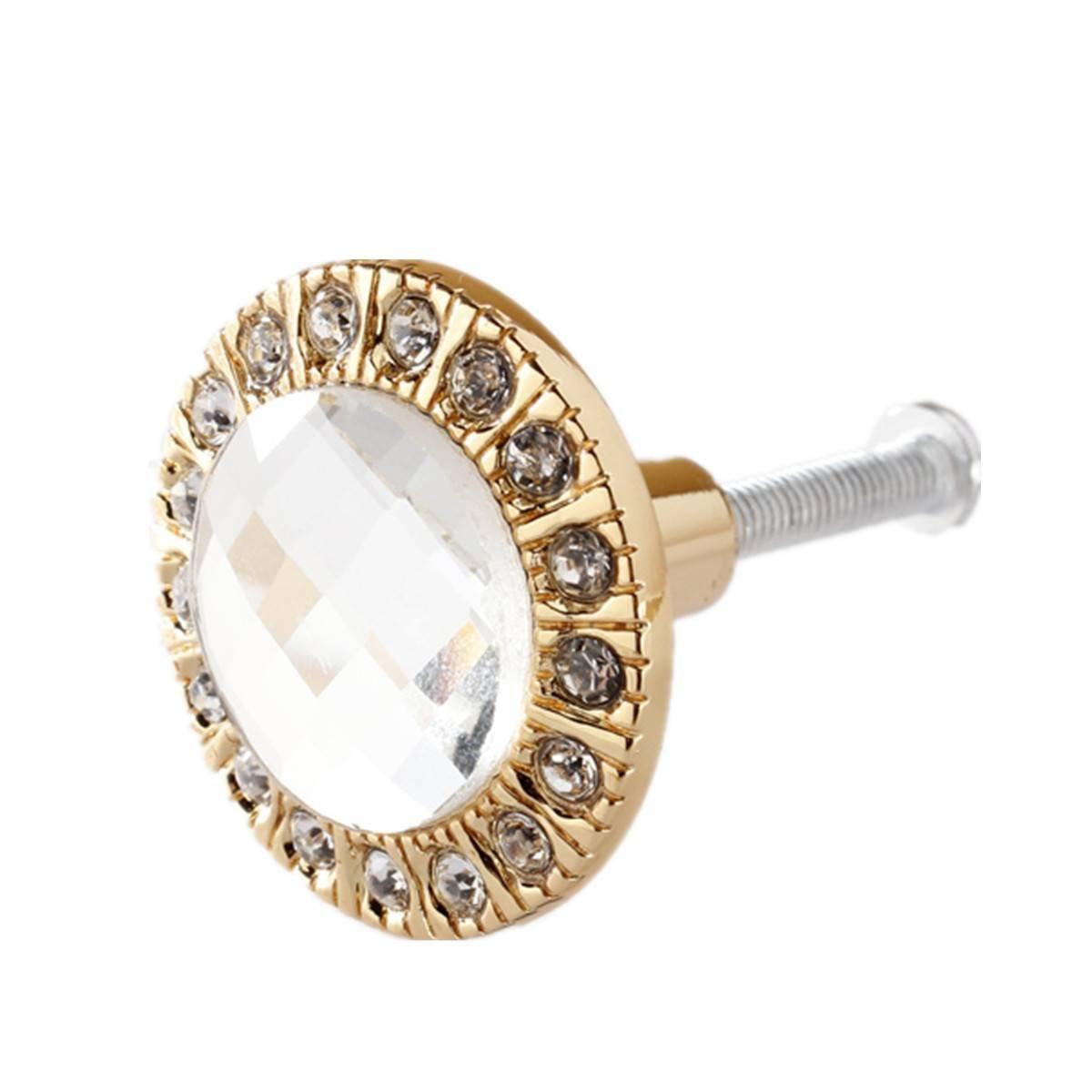 SODIAL(R) 1 pz Manopola di cristallo trasparente in vetro trasparente Manopola di brillante strass per il cassetto d'oro LEPAZIK4031