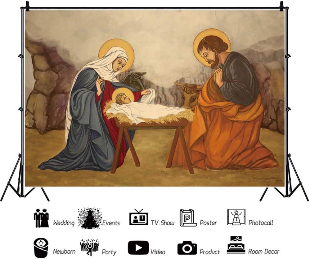 10x8ft Jesus Christ Christmas Backdrop Vinyl Shabby Stable Manger Virgin Mary New Born Jesus Kneeling Shepherd Nativity Photography Background Church Sanctuary Decor Bible Story Wallpaper