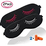 Fitglam Natural Silk Sleep Mask with Eyelashes Patterns & Free Ear Plugs, Best Sleeping Eye Cover for Travel, Nap, Meditation, Blindfold with Adjustable Strap for Men, Women or Kids (2 Pack)