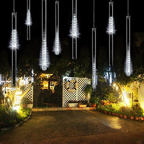 Raindrop LED Meteor Shower Rain Lights,50cm 19.7inch 8 Tubes 288leds,Icicle Snow Falling Lighting for Xmas Halloween Party Holiday Garden Christmas Tree Thanksgiving Decoration Outdoor/Indoor(White)