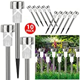 ASAB 10x Solar Powered Stainless Steel Post Lights Bright White LED Outdoor Lighting Garden Decking Patio Pathway Border - White - 1 Pack (10 Lights)