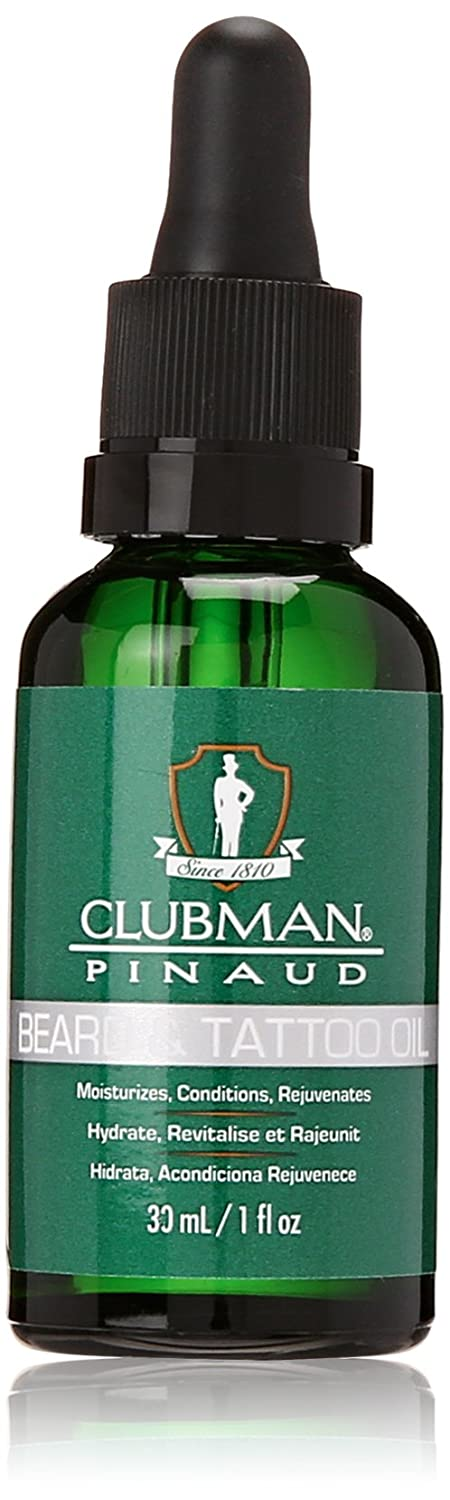 Clubman Pinaud Barbershop Style Beard and Tattoo Oil - Moisturizes, Conditions, and Rejuvenates, 1 fl oz/30 mL 28003
