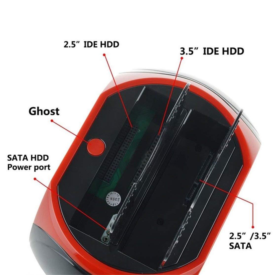 LouiseEvel215 Estaci/ón de Acoplamiento HDD Multifuncional USB Dual 2.0 2.5//3.5 Pulgadas IDE SATA Caja HDD Externa Unidad de Disco Duro Gabinete Lector de Tarjetas