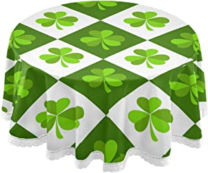 Baofu St. Patrick's Day Round Tablecloth Polyester Circular Green Clover Leaves Table Cloth Water Resistant Spill Proof Large Colorful Beautiful Table Cover for Dining Kitchen Party 60inch