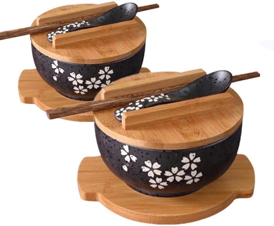Pho 8 Pezzi Thai, Stoviglie Complete in melamina di qualit/à da Ristorante per Noodles Udon Ciotola per zuppa in Stile Giapponese con cucchiai Set di 4 Ciotole per Ramen Nero e Rosso