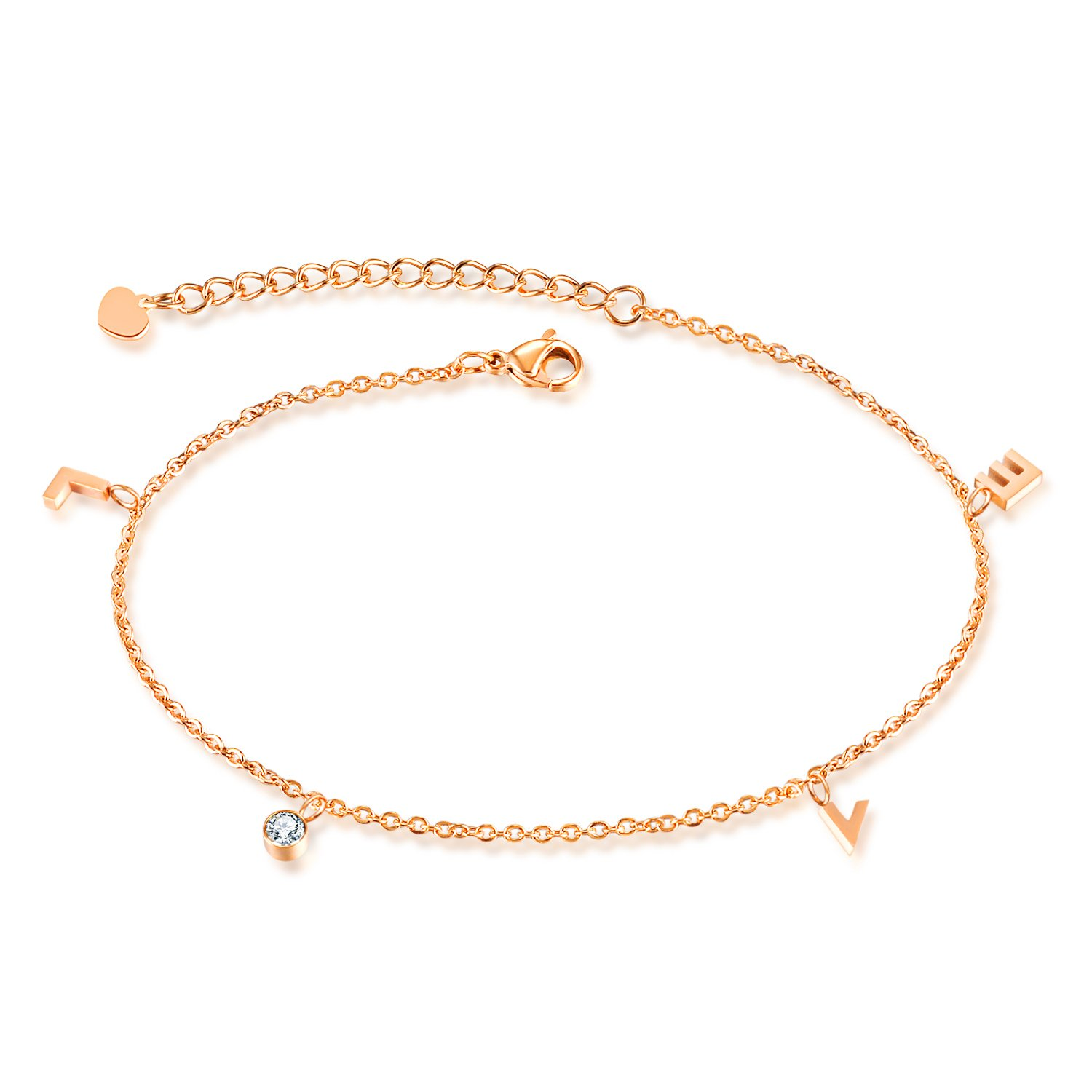 """LOVE"" Cz Stone Charm Anklet Rose Gold Plated Stainless Steel Adjustable Chain Ankle Bracelet For Women"