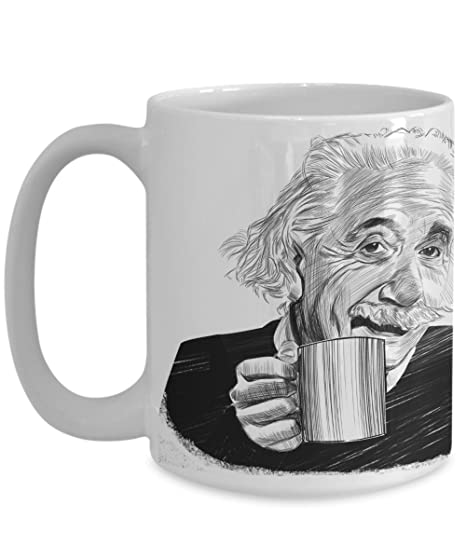 com taza de cafe con albert einstein famous persona