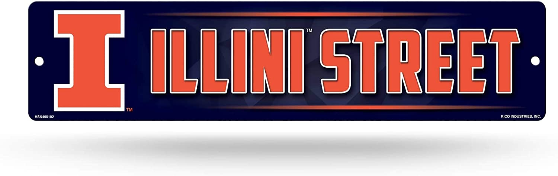 NCAA Rico Industries 16-Inch Plastic Street Sign Décor, Illinois Fighting Illini