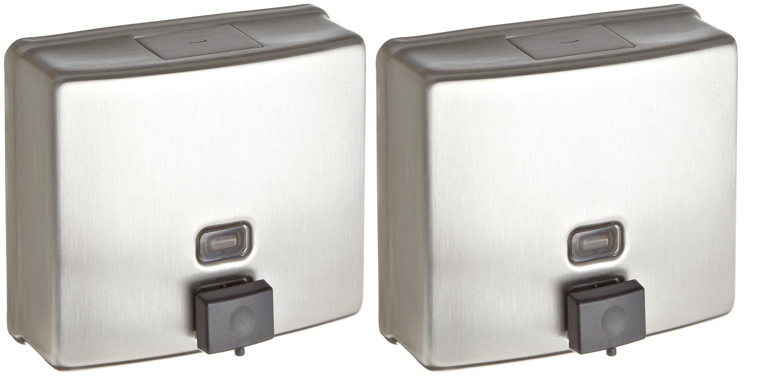Bobrick 4112 ConturaSeries Surface-Mounted Soap Dispenser, 40oz, Stainless Steel Satin (Pack of 2)
