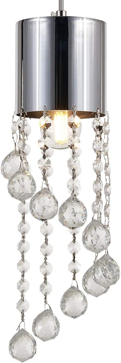 YLONG-ZS Glass Crystal Beads Hanging Pendant Light Fixture 1E26 for Living Room,Bed Room,Kitchen Island Dining Room Cafe Shops Restaurants, Chrome Finish