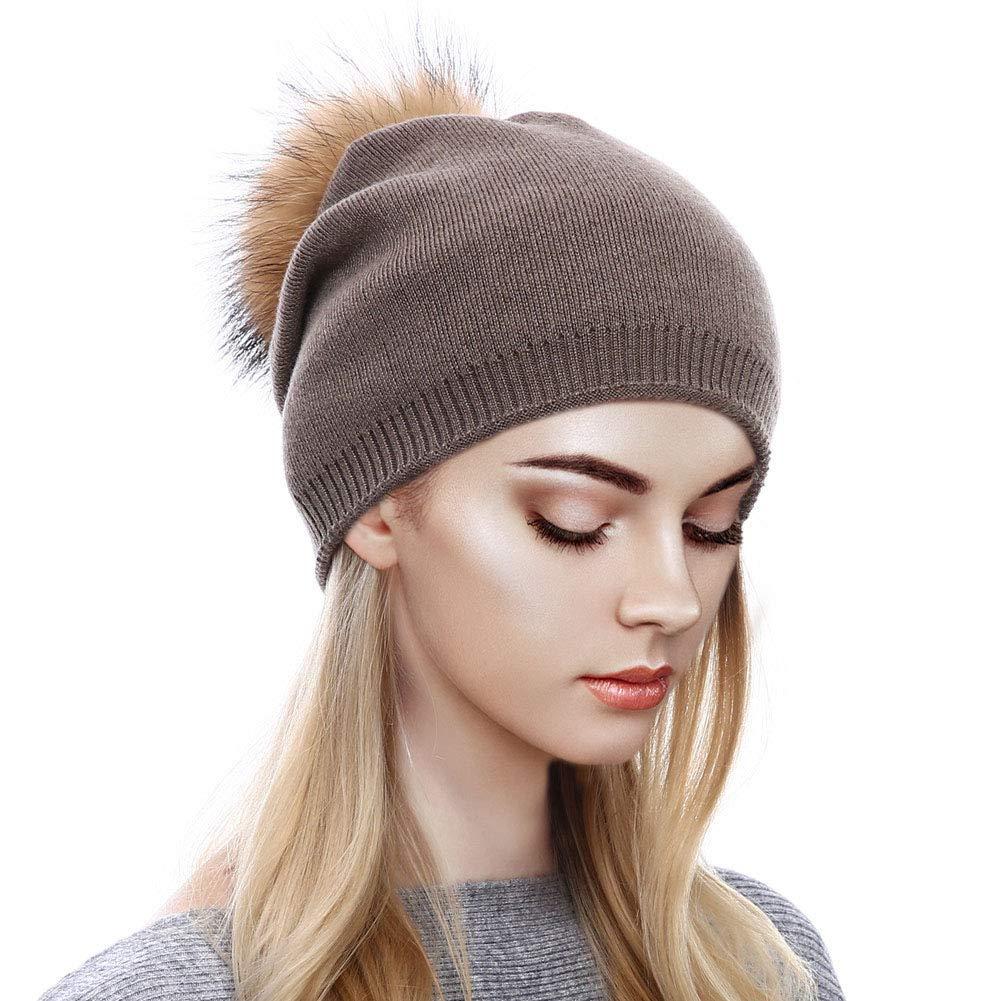 Dark Khaki Sythyee Women's Winter Knit Wool Skull Beanie Hat,Cashmere Ski Skull Caps Fur Pompom Slouchy Beanie
