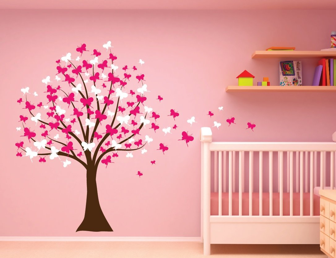 Amazon large wall tree baby nursery decal butterfly cherry amazon large wall tree baby nursery decal butterfly cherry blossom 1139 6 feet tall soft pink and white home kitchen amipublicfo Images