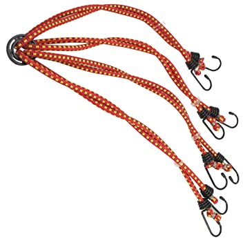 in rot Gepäckspanner COM-FOUR® 4er Set Spanngummi mit 2 Haken 100cm