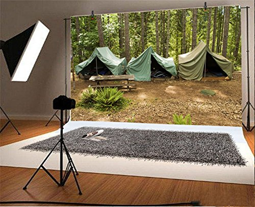 CSFOTO 7x5ft Background For Boy Scouts Group of Canvas Tents At Campground Summer Camp Photography Backdrop Overnight Outdoors Travel Adventure Photo Studio Props Children Portrait Wallpaper by CSFOTO (Image #1)