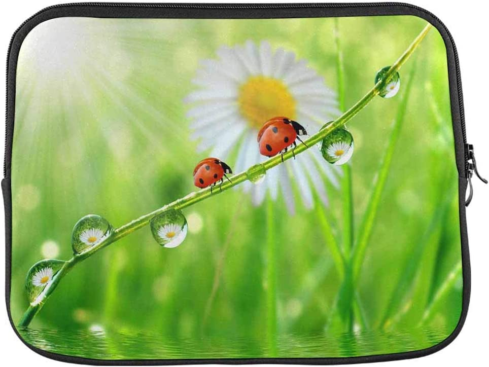 INTERESTPRINT Laptop Sleeve Case Cover Fresh Morning Dew and Ladybird Notebook Computer Pouch Bag 15.4 Inch 15.6 Inch