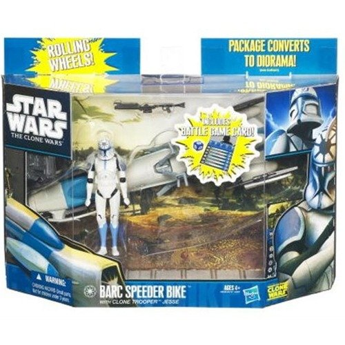 Star Wars Clone Wars Animated 2010 Figure and Vehicle BARC Speeder with Clone Trooper Jesse
