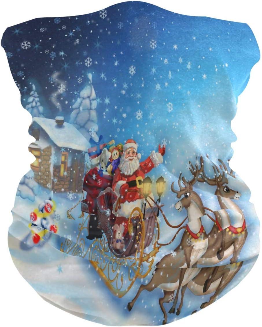 KDU Fashion Sweatband,Diademas De Navidad Ciervo Santa Invierno Mágico, Diademas A Prueba De Viento para Montar A Caballo